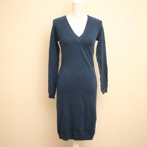 Moda International Silk Wool Navy Sweater Dress